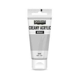 Pentart Creamy Metallic 60 ml Silber