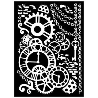 """Schablone Stamperia 20 x 25 """"Dampf Mechanismus"""""""