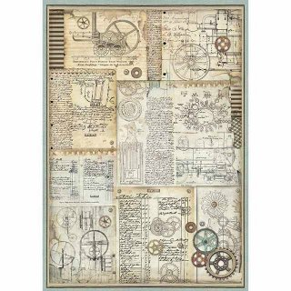 """Stamperia Rice Papier  """"Voyages Fantastiques Gears"""" A3 29,7 x 42 cm"""