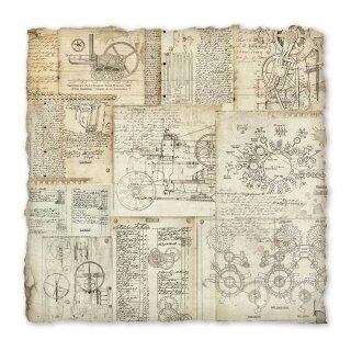 """Handgeschöpftes Papier """"Mechanical Project"""" 30 x 30 cm"""