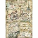 Stamperia Rice Papier  A4 21 x 29,7 cm Fahrrad Vintage