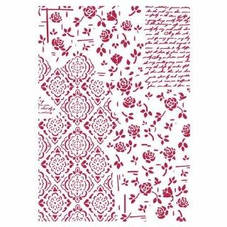 """Schablone Stamperia 21 x 29,7 ca A4 """"Rosen und Dekoration"""""""