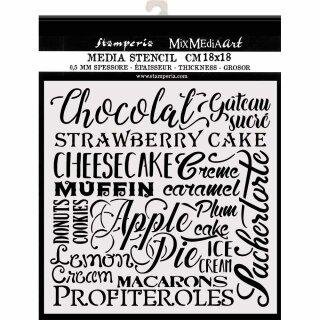 """Schablone Stamperia 18 x 18 """"Schokolade Kuchen"""""""