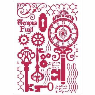 Schablone Stamperia 21 x 29,7  Schlüssel u. Uhren
