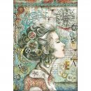 Stamperia Rice Papier  A4 21 x 29,7 cm Lady with Compass