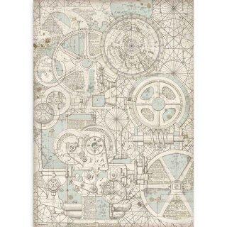 "Stamperia Rice Papier A3 29,7 x 42 cm ""Sir Vagabond Train Mechanism"