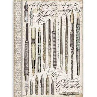 """Stamperia Rice Papier  A4 21 x 29,7 cm """"Vintage Pens"""""""
