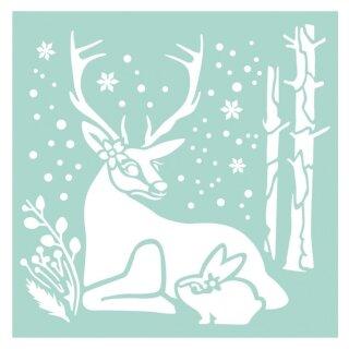 Schablone Stamperia 18 x 18 Renntier und Kaninchen