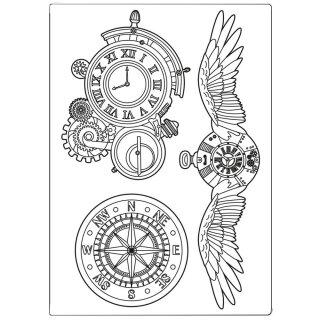 Schablone Stamperia ca A5 14,5 x 21 cm Sir Vagabond Clocks and Wings
